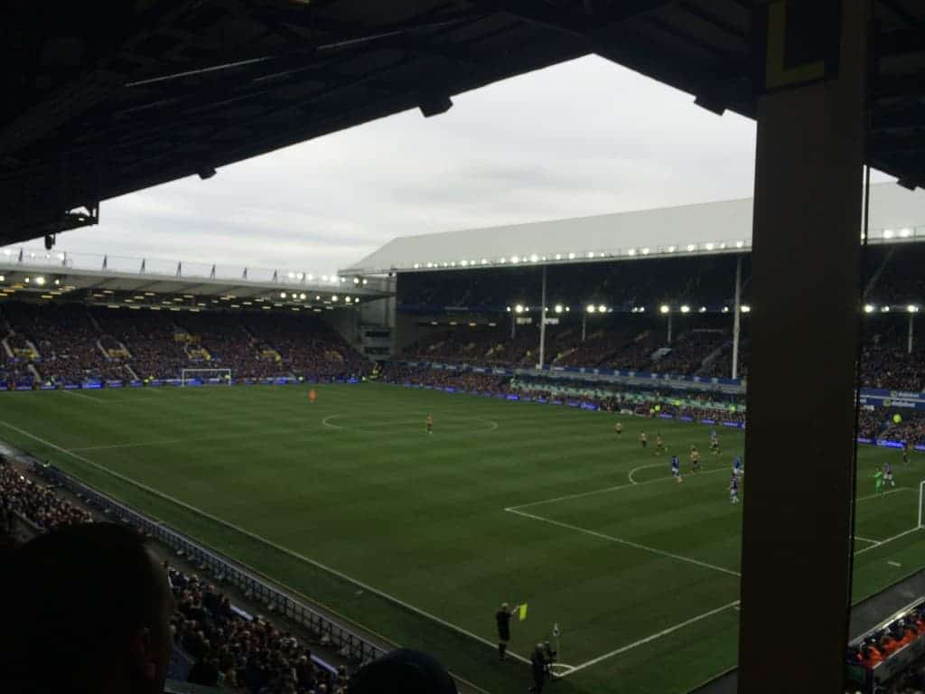 View of the Goodison Park pitch from their Everton hospitality seats.