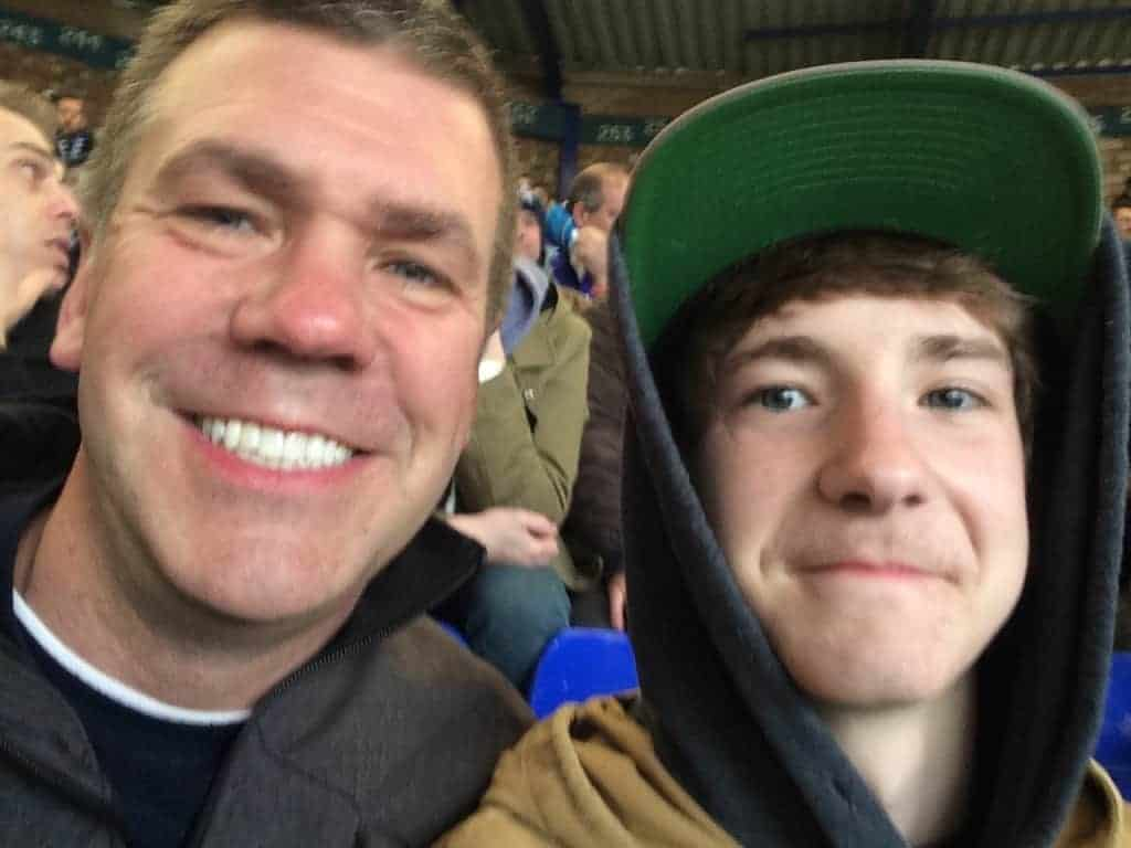 Dean and his son Andrew at Goodison Park.