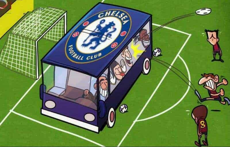 cartoon bus blocking soccer goal