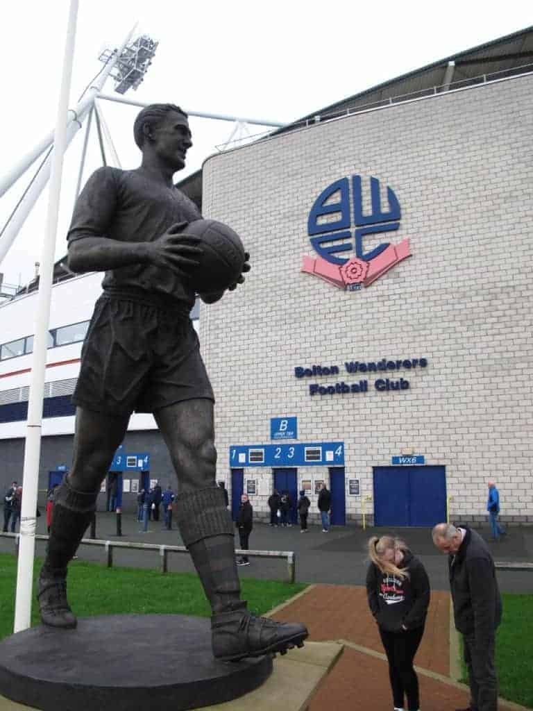 Nat Lofthouse statue outside the Bolton Wanderers football ground.