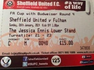 FA Cup soccer ticket sheffield united v fulham