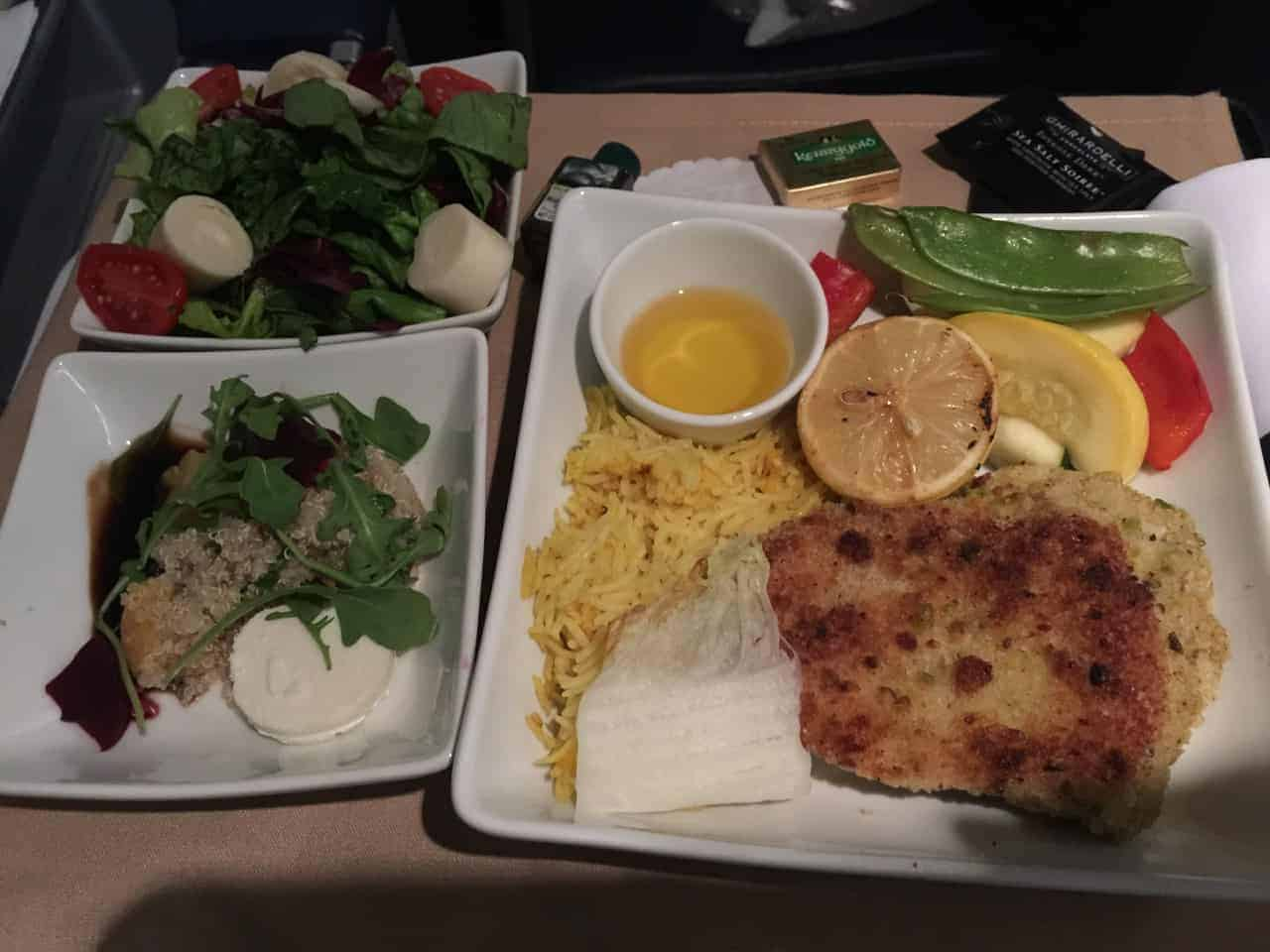 international business class flight meal