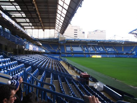 The view from where we sat for our intro talk. The guidejoked that the yellow seats across the way are for Fulham fans.