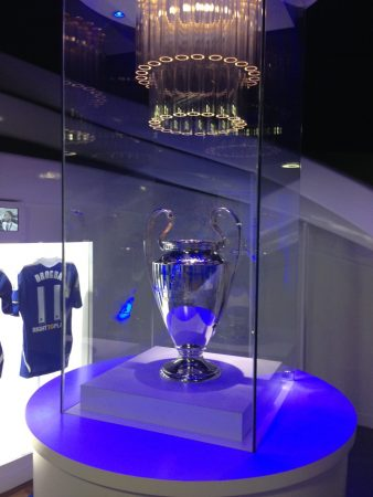 The biggest trophy of them all, the Champions League, with the shirt of the hero of that team, Didier Drogba. He's in Montreal now, but the trophy is still at the Bridge.