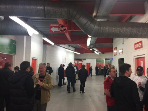 Supporters on the concourse at City Ground, home of Nottingham Forest FC.