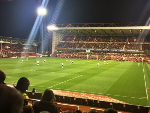 The Trent End, seen from the visitors' section at City Ground, home of Nottingham Forest FC.