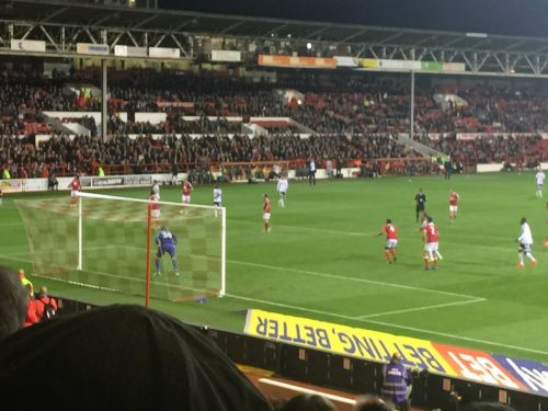 Players line up for a corner kick at City Ground, home of Nottingham Forest FC.