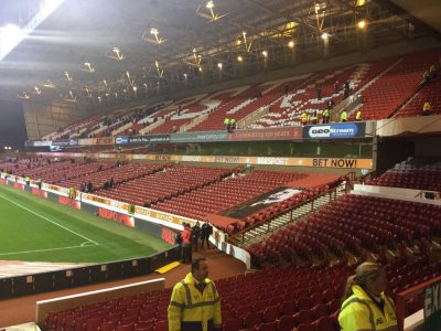 The Brian Clough Stand at Nottingham Forest -- photo and all.