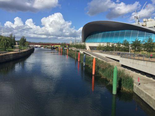Canal in Queen Elizabeth Park near London Stadium, home of West Ham United FC