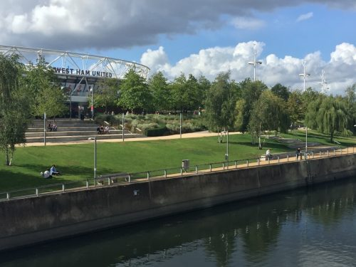 A canal outside London Stadium, home of West Ham United FC