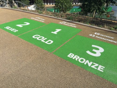 Green signs on a walkway showing where Olympic medalists stood.