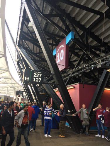Fan at turnstiles at London Stadium, home of West Ham United FC