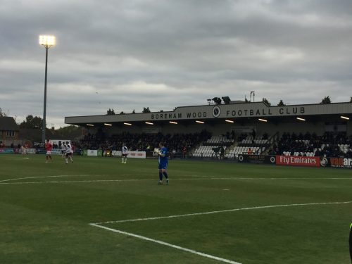 View from the terraces of the home end. The fans at the side of the stand were from Notts County.