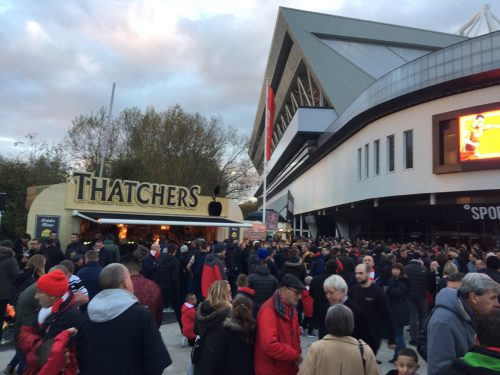 Good food, big crowd, modern stadium. We're not at Rovers anymore!
