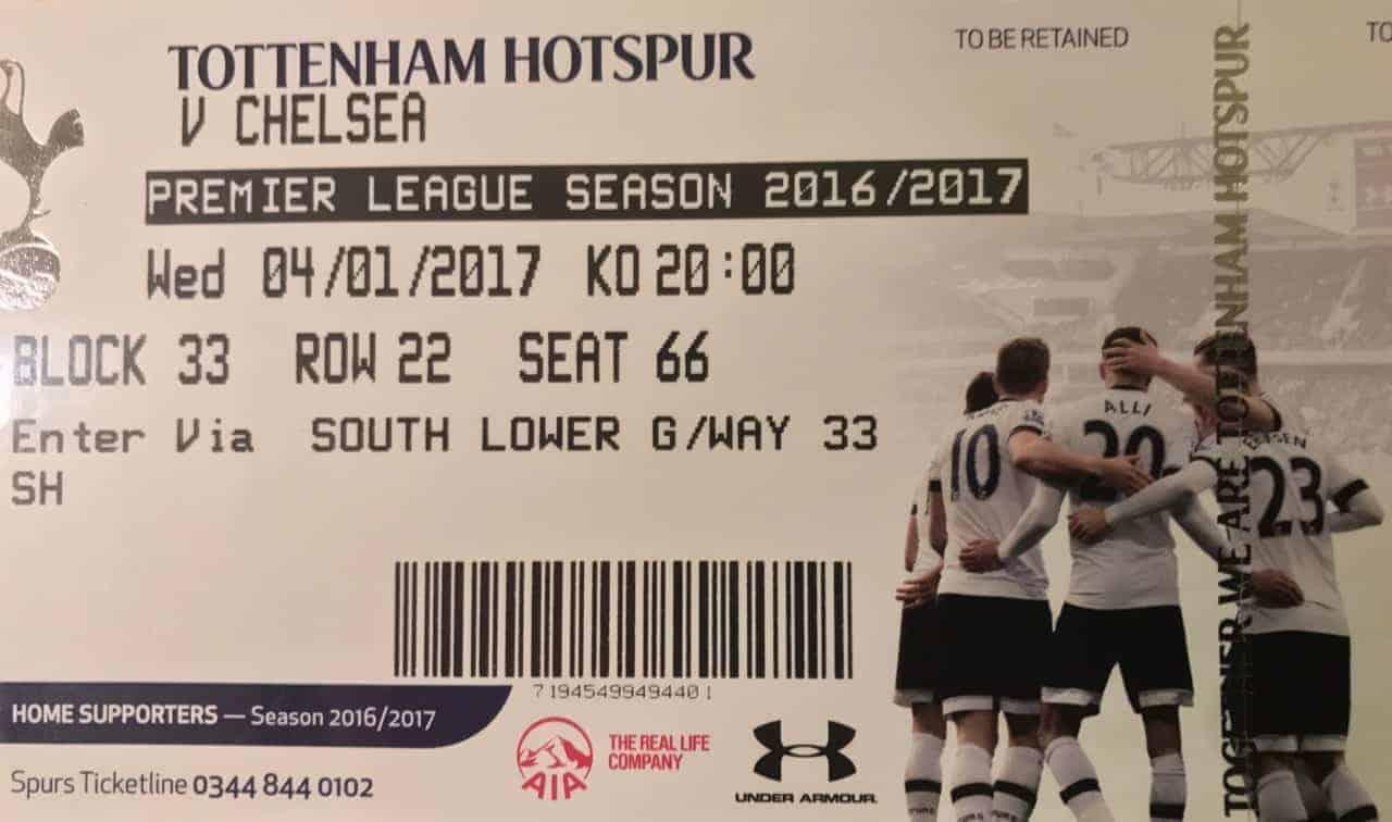 Tottenham Hotspur premier league Ticket