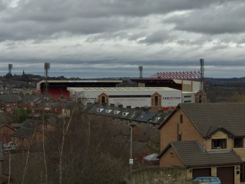 View from up on a hill of Oakwell, home of Barnsley FC.