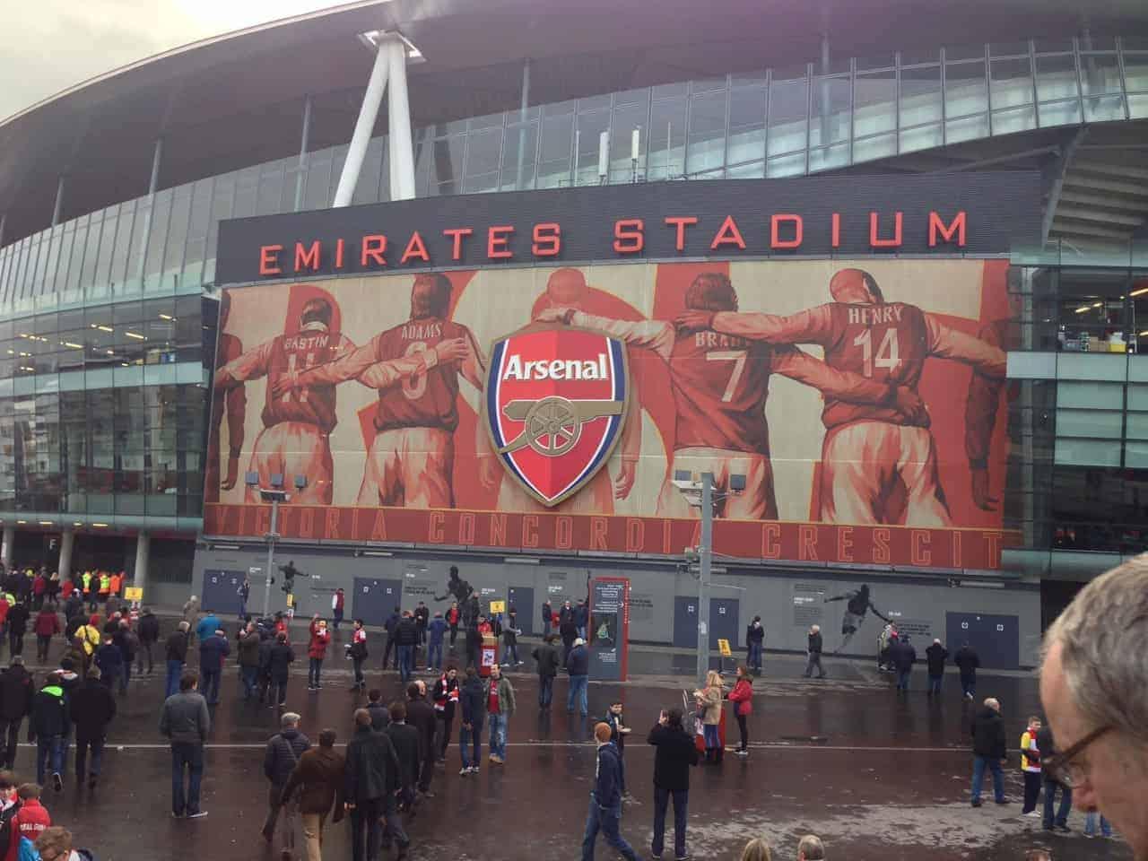 exterior of emirates stadium arsenal fc london