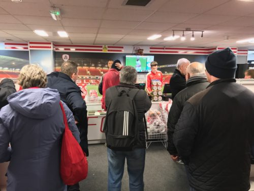 People shipping at the club shop at Oakwell, home of Barnsley FC.
