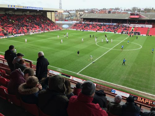 View of the playing pitch at Oakwell, home of Barnsley FC.