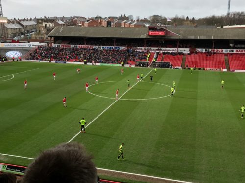 Kickoff vs Huddersfield Town at Oakwell, home of Barnsley FC.