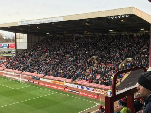 4,600 supporters of Huddersfield Town in a stand at Barnsley FC.