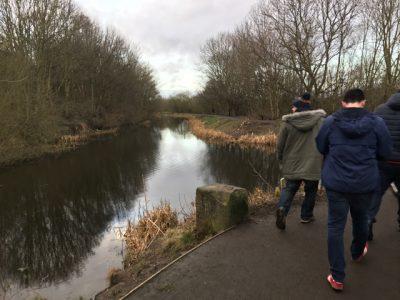 Walking along a canal near Oakwell, home of Barnsley FC.