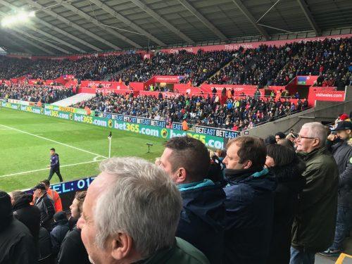 Swansea City Liberty Stadium away supporters watching game