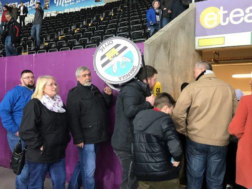Swansea City Liberty Stadium fan with drum