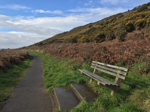 inviting bench on Wales coast path mumbles south wales