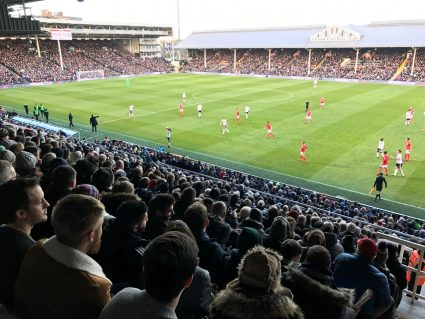 Fulham fans watching a game at Craven Cottage