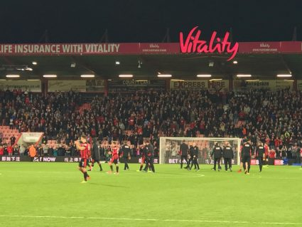 Bournemouth fans and players clapping after win over Brighton and Hove Albion