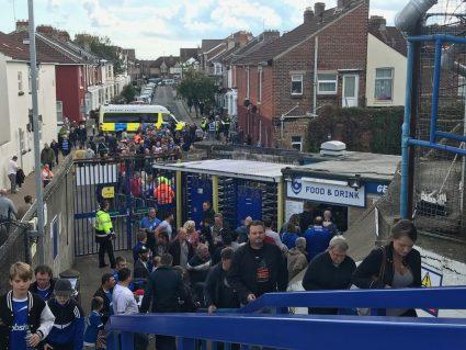 crowds walking into Fratton Park