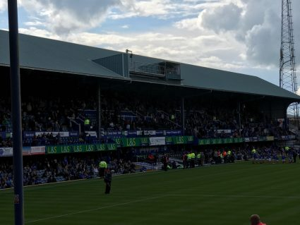 fratton park south stand during a game