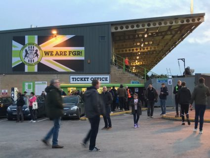 fans arriving at the New Lawn, home of Forest Green Rovers FC