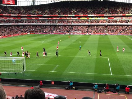view of players on field from arsenal hospitality tickets seats