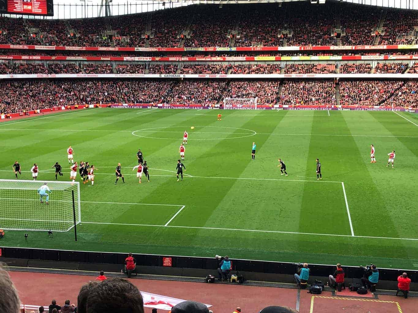 view of players on field from Arsenal hospitality seats at Emirates Stadium