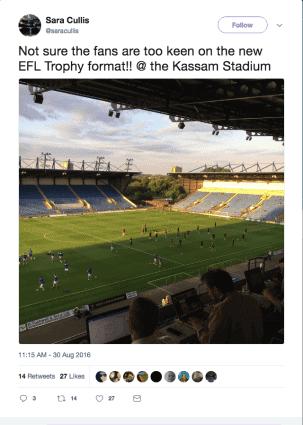 tweet showing empty Kassam stadium for efl trophy game