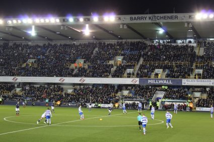 Kickoff of a soccer game at Millwall FC's The Den