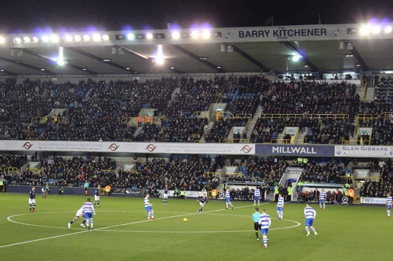 Kickoff of a soccer at Millwall FC's The Den.