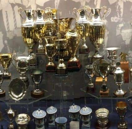 trophy case at Manchester United European champions