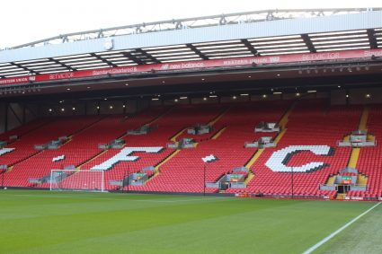 inside empty Anfield Stadium Liverpool Kop