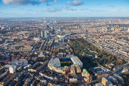 aerial view Stamford Bridge soccer stadium and city