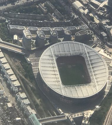 aerial view Emirates soccer stadium