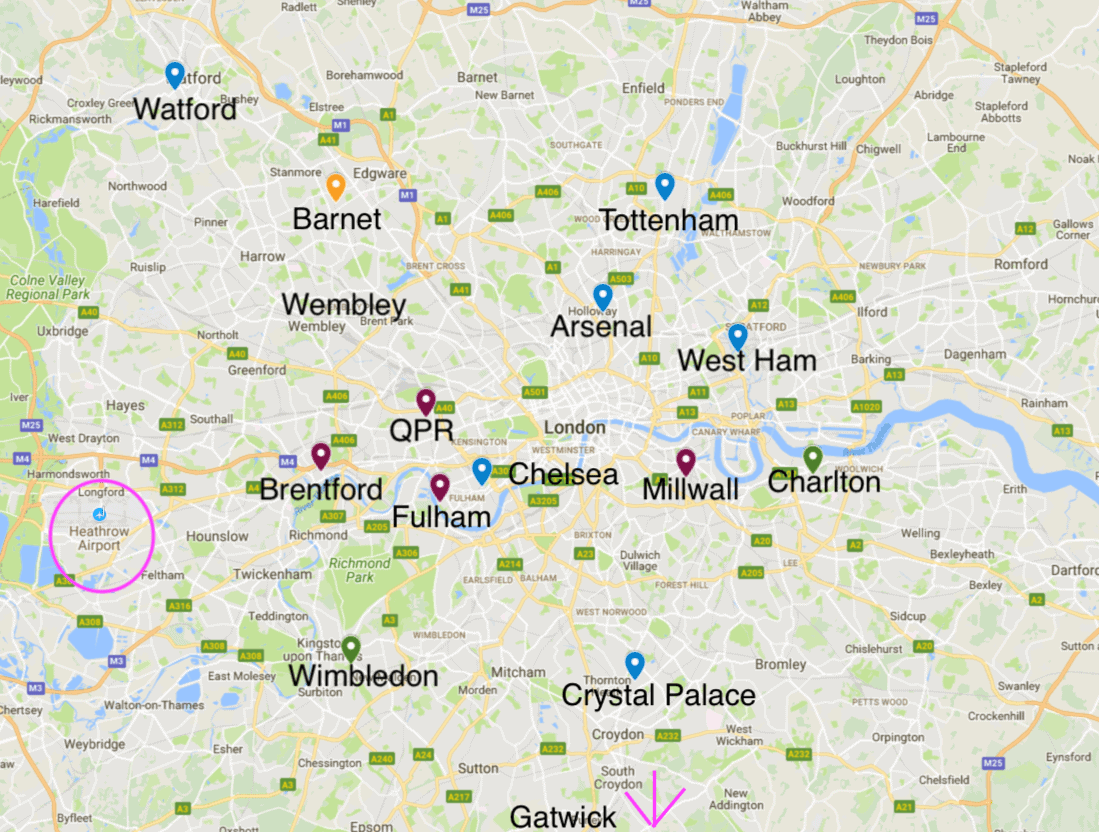 Map Over London.Look For Soccer Stadiums While Flying Into London