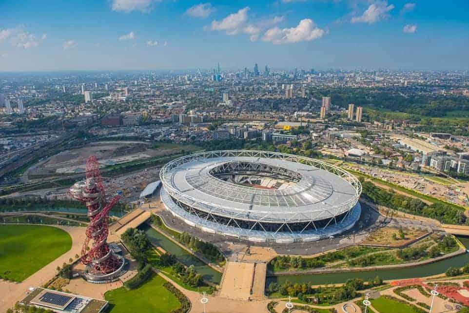 aerial view of West Ham premier league stadium