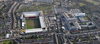 aerial view Vicarage Road soccer stadium