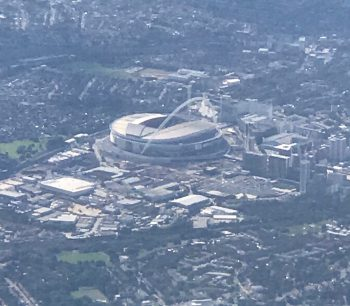 overhead view of Wembley Stadium, London.