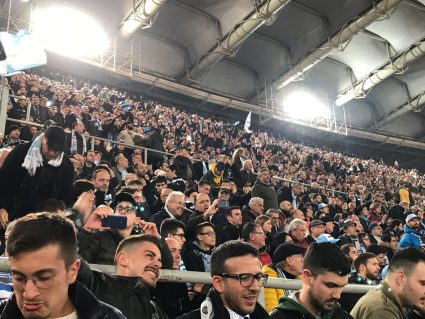 cheering fans at Lazio soccer game