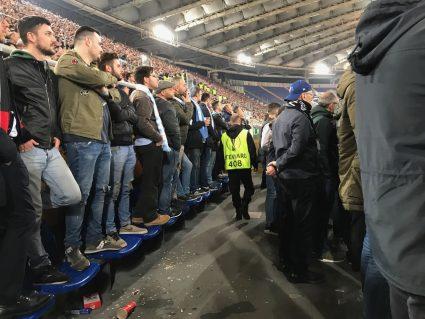 Lazio fans standing on seats