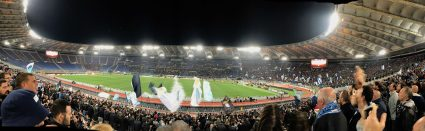 panorama showing fans and pitch inside Stadio Olimpico Rome